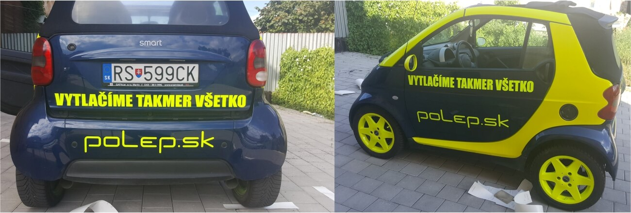 Polep vozidiel, reflexná autosamolepka